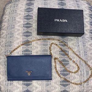 Prada Clutch on Gold Chain - Looks brand new!